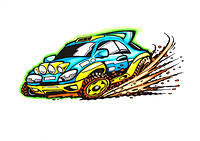 Rally Comic Car Full Color Right to Left 600dpi