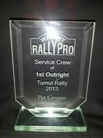 Pats Rallypro trophy for winning Tumut rally